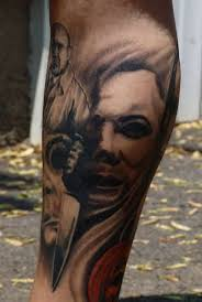 horror tattoo u2013 michael myers horror on leg tattooshunter com