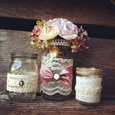 jar wedding decorations burlap and lace jar vases vintage style lace jars