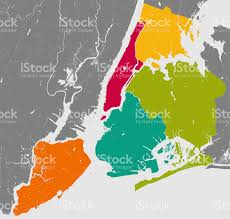 map of new york and manhattan boroughs of new york city outline map stock photo istock