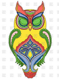 colourful ornamental owl with closed vector clipart image