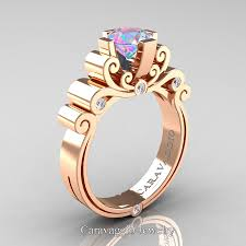Engagement Rings And Wedding Band Sets by Caravaggio 14k Rose Gold 1 25 Ct Iridescent Cubic Zirconia Diamond