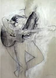 guitar player rock music art work pencil drawing of male figure