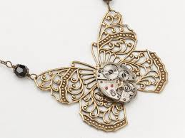 butterfly pendant necklace silver images Steampunk necklace gold filigree butterfly pendant with silver jpg