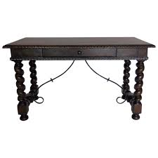 Art Van Desks by Custom Walnut Wood Barley Twist Writing Desk With Carved Detail