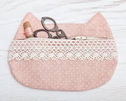 pencil bag cat makeup bag with lace pink cosmetic bag pencil cat