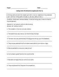 linking verbs worksheet fill in part 1 intermediate great