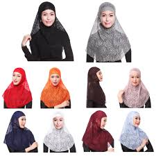 2pcs lace hijab muslim head neck chest cover women scarf cap
