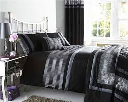 king size duvet set black u0026 silver grey satin pintuck quilt cover