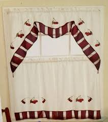 these beautiful cherry kitchen curtains feature red embroidered