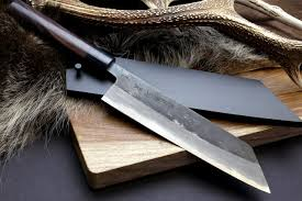 High Carbon Kitchen Knives by Yoshihiro Mizu Yaki Blue High Carbon Steel Black Forged Kiritsuke