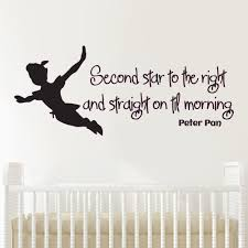 v c designs ltd tm peter pan second star quote children s v c designs ltd tm peter pan second star quote children s bedroom baby nursery kids room playroom wall sticker wall art vinyl wall decal wall mural