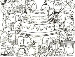 coloring page happy birthday doodle cake 9