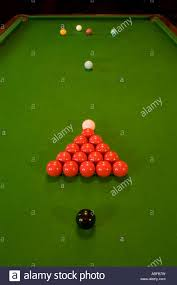 how to set up a pool table a snooker table with balls set up ready to play in a pub or bar