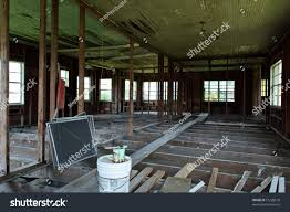 One Floor House Interior Gutted One Story House Showing Stock Photo 51228199