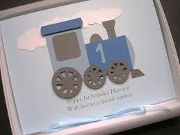 1st first birthday card for boy personalised name gift boxed son