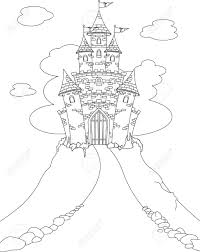 coloring page with magic fairy tale princess castle royalty free