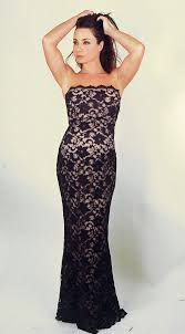 black strapless lace formal maternity gown by nicole maternity