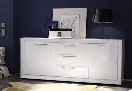 Buffet bahut design 2 portes 3 tiroirs blanc laqué Cécilia Bahut