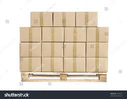 wooden palette cardboard boxes on wooden palette isolated stock photo 74904277
