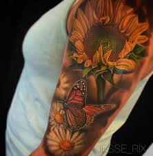 nature sleeve with sunflower butterfly daisies best