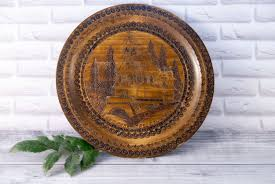 handmade decorative wooden plate with brass ornament wall hanging