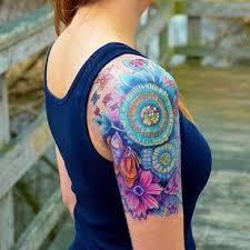 unique shoulder tattoos for colorful unique flower sleeve
