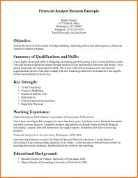 Finance Resumes Examples by 8 Financial Analyst Resume Example Financial Statement Form