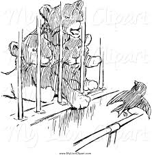 clipart of black and white lion cubs watching a bird from a cage
