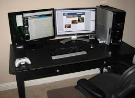 two screen computer desk amazing elegant two computer desk setup fancy cheap furniture ideas