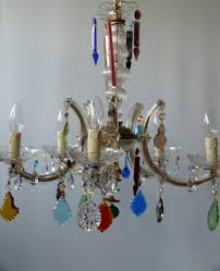 Coloured Chandelier 5 arm marie therese with multi coloured droplets and shades the