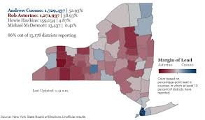 New York State County Map by 2014 New York State Gubernatorial Election Results By County