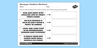 newspaper headline writing worksheet newspaper headlines