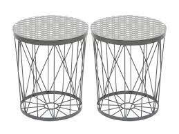 miroir jardin d ulysse lot de 2 tables d u0027appoint rondes en métal filaire graphic poissons