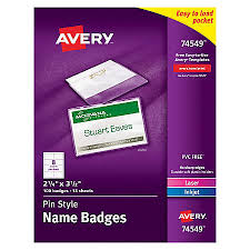 Avery Laser Business Cards Avery Pin Style Name Badge Kits Business Card Size 2 14 X 3 12 Box