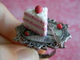 strawberry cake slice ring w mini strawberries by thepetiteshop