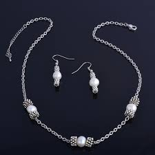 silver pearl necklace set images Original design nowadays jewelry natural freshwater pearl jpg
