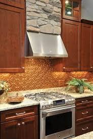 Copper Backsplash Kitchen Cozy Light Filled Space With Open Shelving A Copper Backsplash