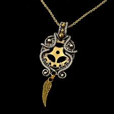 steampunk style wire wrapped pendant by mayahandmade mayahandmade