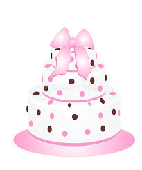 cake ribbon cake with ribbon and pink and brown dots stock photo image