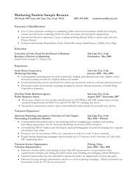 Resume Summary For College Student Marketing Resume Objectives Examples Crafty Design Ideas Examples
