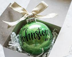 personalized ornament last name ornament lettered