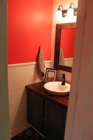 Orange Walls Half Bath Remodel Orange Walls Beadboard Painted Vanity Home