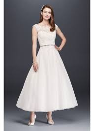 illusion neckline wedding dress tea length tulle illusion neckline wedding dress david s bridal