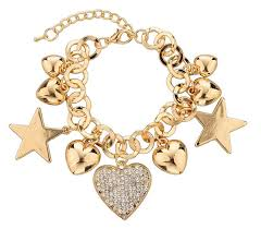 gold plated bracelet charms images Fashion heart beetle charm bracelets bangles for women real gold jpg