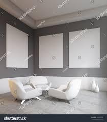 Dark Walls Empty Living Room Interior Sofas Dark Stock Illustration 453465589