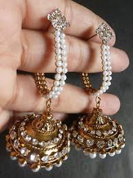 jhumka earrings with chain indian gold plated party wear traditional pearl chain jhumka