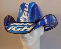 bud light vendor costume beer box cowboy hats made from recycled bud light beer boxes