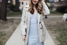 blue lace dress and petite trench coat chow down usa