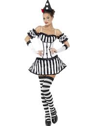 Mime Halloween Costumes Ladies Mime Act Clown Fancy Dress Costume Clowns Size 16 18
