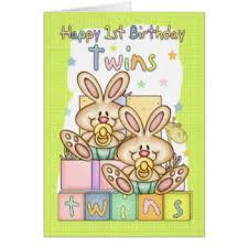 twins 1st birthday cards u0026 invitations zazzle co uk